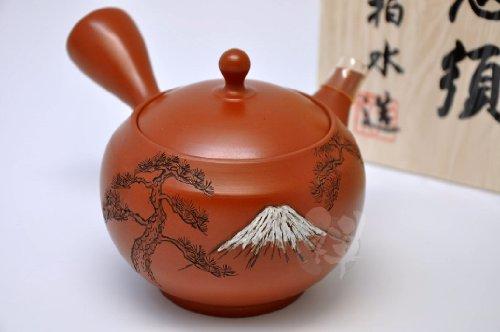 """[MK-6-131] Japanease Tokoname ware teapot Kyusu Ceramesh net type HAKUSUI 5"""" x 6 1/8"""" x 3 7/8"""" 290ml"""