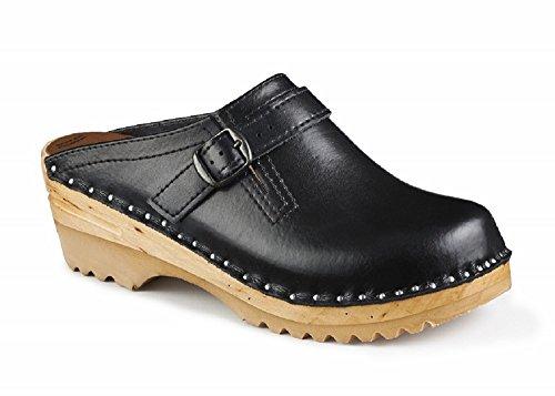 Troentorp Womens Båstad Raphael Black Leather Clogs 41 EU vOsrPZq