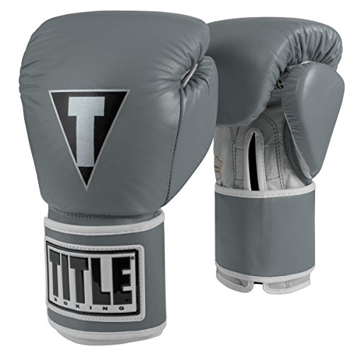 Title Boxing TITLE Limited Pro Style Leather Training Gloves, Grey/Silver, 16 (Title Boxing Foam Boxing Gloves)