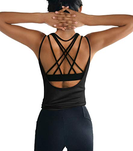 ZJCT Womens Summer Workout Tops Sexy Backless Yoga Shirts Open Back Running Sports Tank Tops Cute Muscle Tank Sleeveless Gym Fitness Activewear Cloth for Juniors Black M