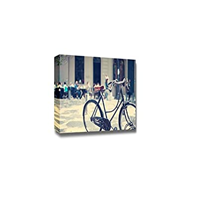 Canvas Prints Wall Art - Vintage Bicycle Parked in The Street | Modern Wall Decor/Home Decoration Stretched Gallery Canvas Wrap Giclee Print. Ready to Hang - 32