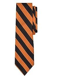 Jacob Alexander Stripe Woven Boys Regular College Striped Tie - Orange Black