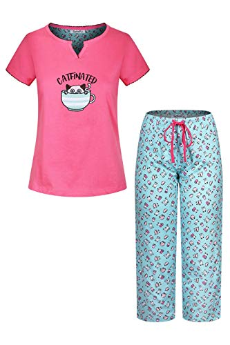 SofiePJ Women's Embroidery Pure Cotton Sleepwear Capri Set Pink Aqua M(542571)