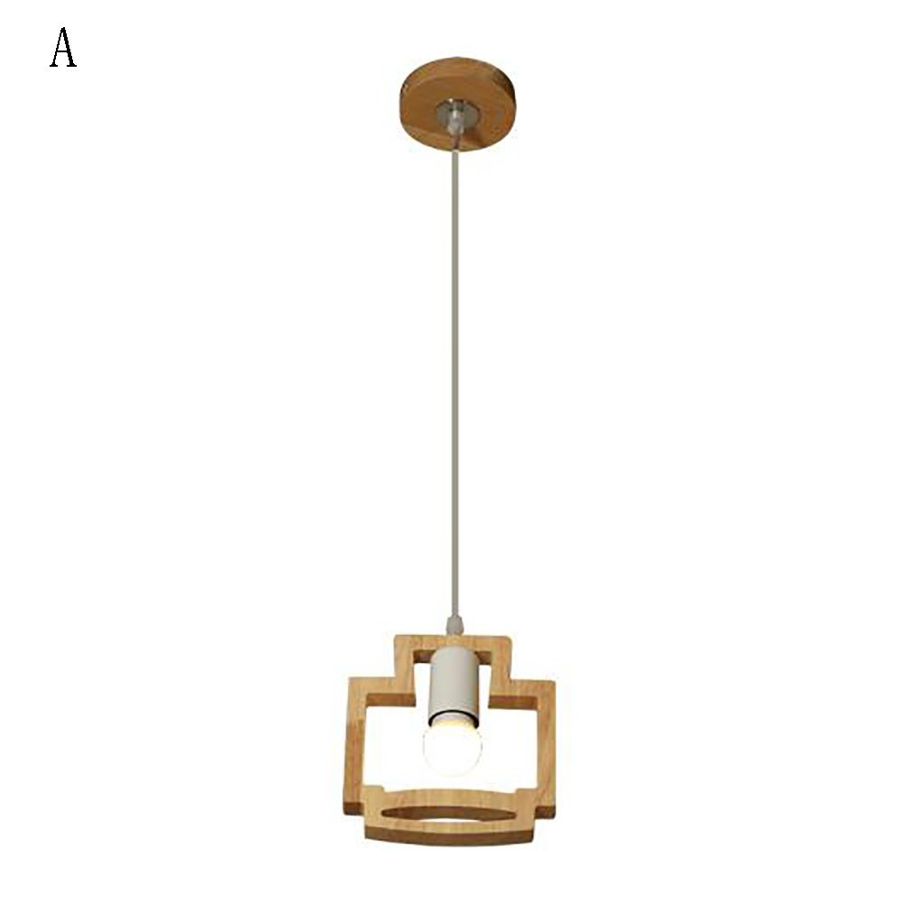 Chandelier Creative art solid wood cute restaurant dining room wooden bar Japanese-style lamps (Color : A)