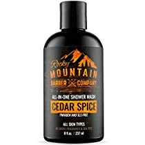 All-in-One Shower Wash for Men - Canadian Made Shampoo, Body Wash, Conditioner, Face Wash & Beard Wash with Essential Oils - Cedar Spice Scent - 8 oz