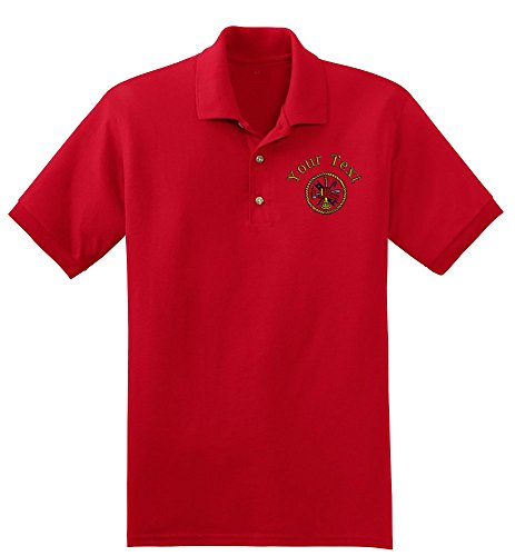 Personalized custom embroidered firefighter emblem polo shirt, mens xx-large, red (Fire Dept Embroidery)