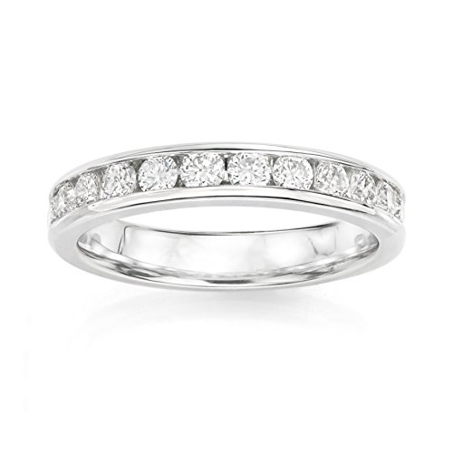 14KT White Gold 0.5ct G-I SI1/SI2 Channel Machine Set Wedding Ring by Uncle Sam's Collection