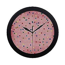 C COABALLA Spots Decor Circular Plastic Wall Clock,Retro Classic Spots Design with Circles Geometric Decor Pink Background Image for Home,9.65 D