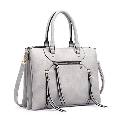 (Women Briefcase Shoulder Bag Soft Faux Leather Triple Zipper Pocket Ladies Large Crossbody Bag with Tassel (Gray))