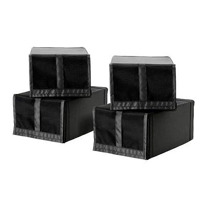 IKEA SKUBB - caja de zapatos, negro / 4 Pack - 22x34x16 cm