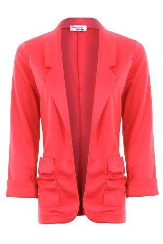 Veste Tailleur Poche Fronc Revers Femme Poignet Fantasia Blazer Ouverte Ad6x7w