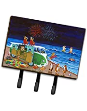 Caroline's Treasures 7317TH68 Corgi Beach Party Volkswagen Bus Fireworks Leash or Key Holder, Large, Multicolor