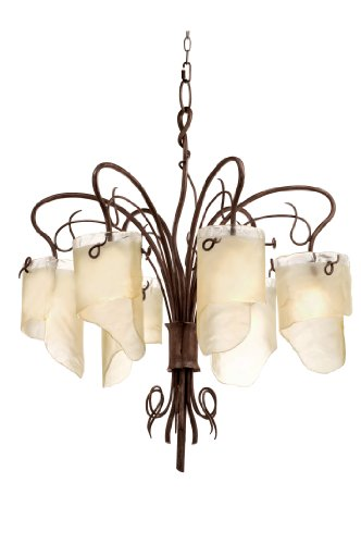Recycled Chandelier Glass (Varaluz 126C06HO Soho 6-Light Chandelier - Hammered Ore Finish with Brown Tinted Ice Recycled Glass)