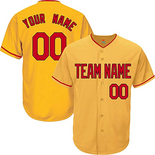 - Yellow Custom Baseball Jersey for Men Button Down Embroidery Team Player Name & Numbers,Red-Black Size L