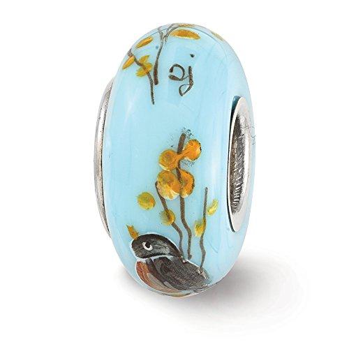 Fenton (Bleu peinte à la main Robin Forsythia en verre et charm en argent sterling