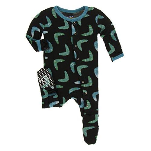 KicKee Pants Little Boys Print Footie with Snaps - Midnight Boomerang, 18-24 (Print Snap)