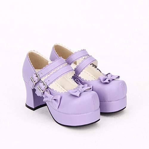 PINGXIANNV Lolita Schuhe Schuhe Schuhe Dicke Ferse Schuhe Runde Kopf Bogen Spitze Dekoration Loli Schuhe Prinzessin Schuhe 43ce89