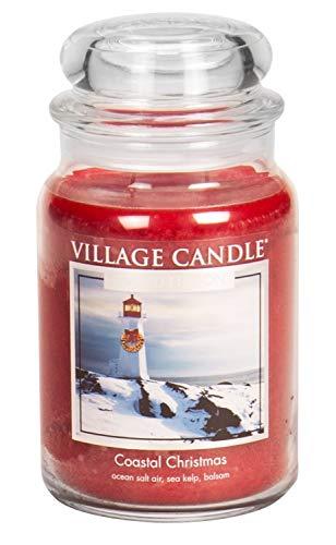 Ounce 26 Christmas Jar - Village Candle Coastal Christmas 26 oz Glass Jar Scented Candle, Large