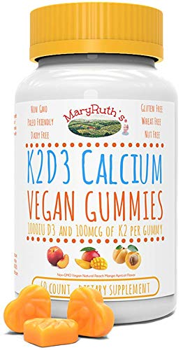 Organic Vegan Vitamin K2+D3 Calcium Gummies (Plant Based) by MaryRuth Chewable, Non-GMO, Gluten Free for Men, Women & Kids (60 Count)