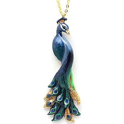 Paon-Collier Femme-Ballerine Crème Oiseau doré fait à la main Taille réglable Animaux 18K Or Peinture Animaux Collier