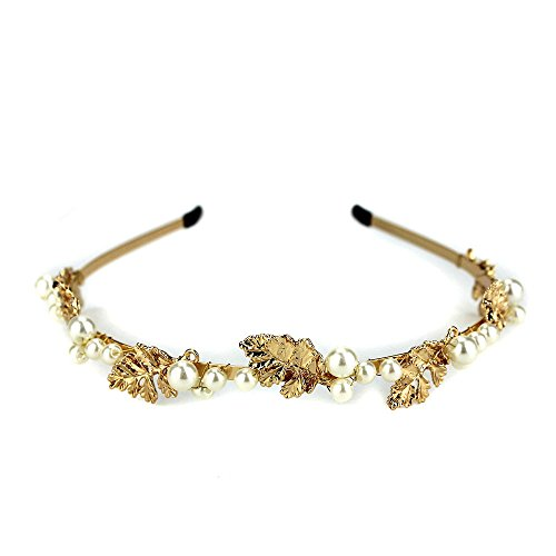 Women Sparkle Pearl Leaves Lady Forehead Hair Band Headpiece Hair Accessories (White (Diy Toga)