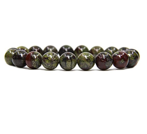 Amandastone Natural A Grade Dragon Blood Jasper Genuine Semi-Precious Gemstones Healing 10mm Beaded Stretch Bracelet 7