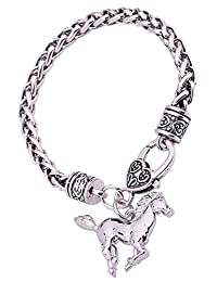 Lemegeton Running Horse Pony Wheat Chain Bracelet for Teen Girls Equestrian Birthday Gift Jewelry