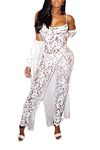 Aro Lora Women's Plunge V Neck Long Sleeve Hollow Out Lace High Waist Long Pant Bodycon Jumpsuit Rompers XX-Large White (20 Romper)