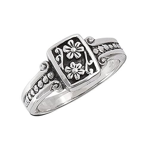 Oxidized Flower Daisy Vintage Beaded Ring .925 Sterling Silver Band Size 5 (VOL10358-5) (Vintage Ring Size 5)