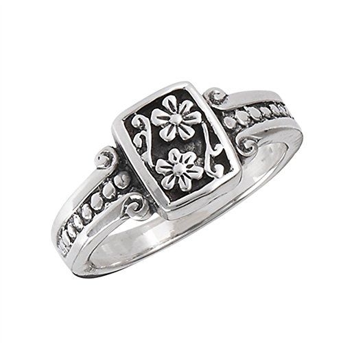 (Oxidized Flower Daisy Vintage Beaded Ring .925 Sterling Silver Band Size 6)