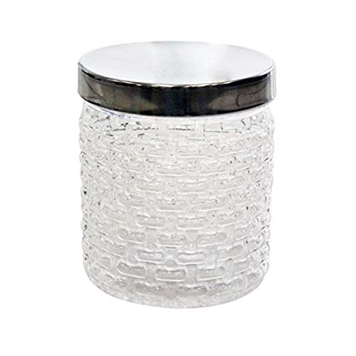 Princeware Plastic Food Storage Jar/Canister, Clear Base with Chrome Effect Lid, 1000ml Steel, Clear]()