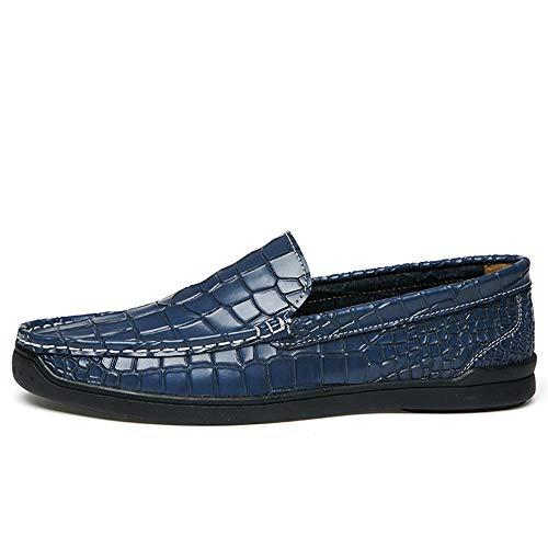 Zgsjbmh Zapatos Tamaño único de de Diseño de Hombres 0cm Negocios Moccasin los de Mocasín Zapatos Suave Azul Confort Azul y Planos Gommino Negro 24 0cm Genuino 27 Cuero Bajos liviano Gommino rrawZ1nq