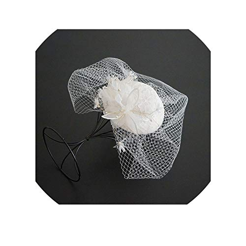 koweis Ivory Wedding Hats Flower with Pearls Bridal Hat Wedding Evening Party Birdcage Veil For Hair,Ivory -