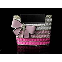 TISHAA PINK Bling Diamond Crystal Giant Cute Ribbon Convenient Car Dash Air Vent Sunglasses Cell Phone Holder, Multifunctional Car Organizer (Big Pink Ribbon)