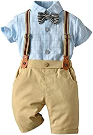 Edjude Baby Boys Gentlemen Outfits Suit Toddler Formal Shirt Shorts Suspenders Bowtie Romper Summer Clothing Set