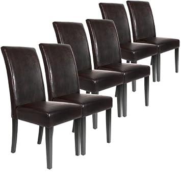 Lot ensemble de 6 chaises - pour salle à manger, salon - en cuir marron f5fd1a536d19