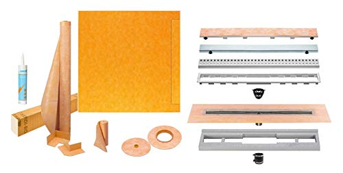 Schluter Kerdi-Line Shower Kit with 39in x 39in Shower Tray (KSLT1000S) and Linear Drain - 24 Inch Channel Body, and Stainless Steel Tileable Grate