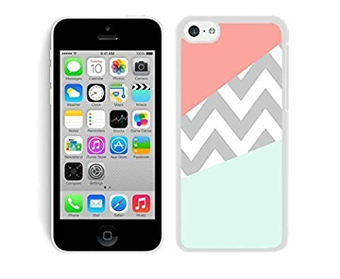 Beautiful Case Coral Mint Grey Chevron Apple Iphone 5c Case White Mobile Phone Cover (Cheap Speck Case For Iphone 5c)