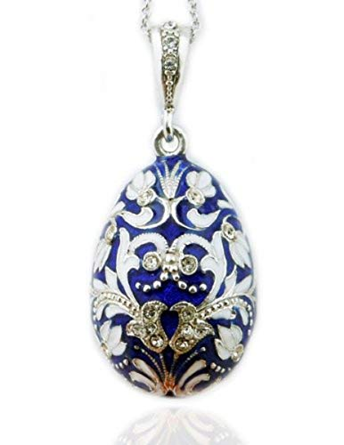 Religious Gifts Fine Jewelry Blue Russian Egg Pendant Silver Enameled 1 1/2 Inch