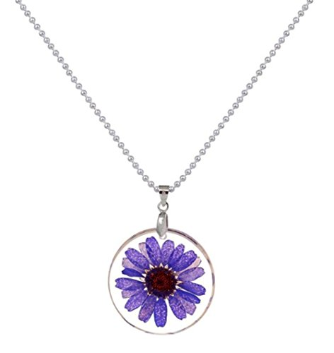 Purple Daisy Flower (StylesILove Womens Pressed Natural Daisy Flower Resin Pendant Necklace (Purple with Silver Chain))