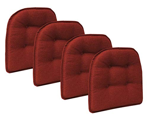Klear Vu Omega Gripper Tufted Furniture Safe Non-Slip Dining Chair Cushion, 4 Pack, Flame