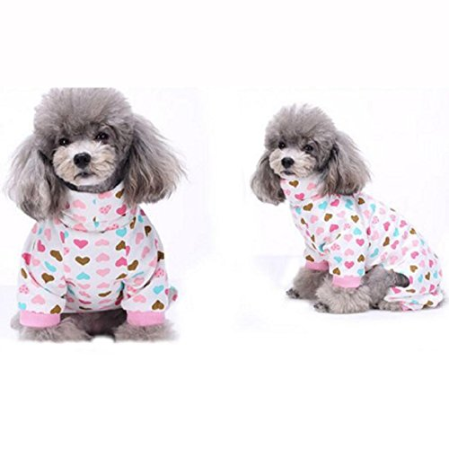 Pet Clothes,Pet Puppy Dog Cotton Pajamas Shirt Teddy Dog Cute Soft Homewear Jumpsuit Doggie Apparel (XS, Pink)