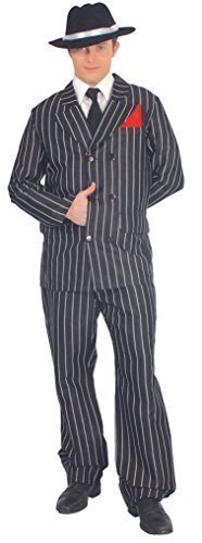 1930s Men's Costumes: Gangster, Clyde Barrow, Mummy, Dracula, Frankenstein Mens Black White 1920s Pinstriped Gangster Suit Bugsy Malone Fancy Dress Costume Outfit (Large) �27.49 AT vintagedancer.com