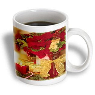 - mug_52296 Doreen Erhardt Christmas Collection - Christmas Poinsettia Bouquet and Candy Cane Photograph - Mugs