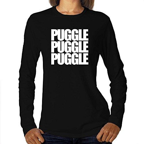 Eddany Puggle Three Words Maglietta a Maniche Lunghe da Donna