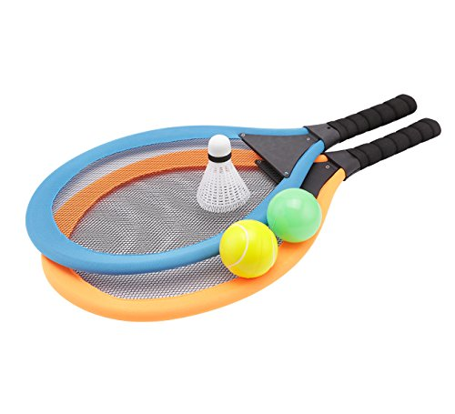 (fashionclubs Kids Tennis Racket Set, Plastic Badminton Tennis Rackets Balls Set,Kids Racket|Racquet Play Game Toy Set,Play at the Beach,Lawn or Backyard)