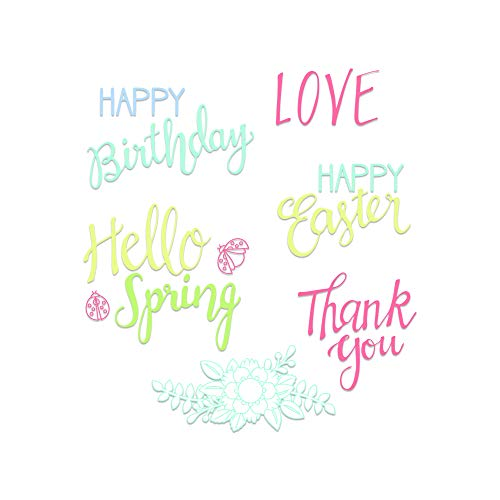 (Sizzix 663587 Spring Phrases Dies, One Size, Multicolor)
