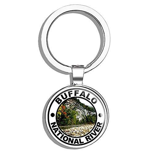 (HJ Media Round Buffalo National River (Arkansas Hike rv Fish Kayak Park) Metal Round Metal Key Chain Keychain Ring)