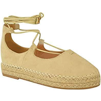 Fashion Thirsty Womens Lace Up Strappy Low Flat Canvas Wedge Espadrilles Sandals Size 5 (US), 4.5 (AU)