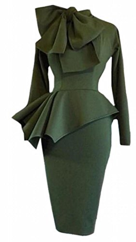 Alion Womens Sexy Bow Tie Neck Long Sleeve Cocktail Dress Bodycon Peplum Dress Green XL (Bow Peplum)